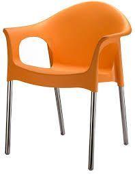 nilkamal novella chair stainless steel legs - orange - novella 09 (flocnovlawaocs9007)